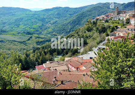Italy, Basilicata, Pietrapertosa - panoramic view of the city and the valley - Stock Photo