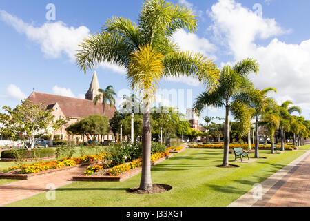 Buss park with Christ Church and the former Presyterian St Andrews church (now Seventh Day Adventist church) in - Stock Photo