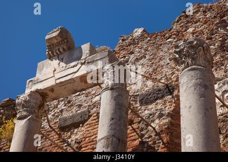 Ancient runis of Teatro Greco (Greek Theatre - 3rd c. BC), Taormina, Sicily, Italy - Stock Photo