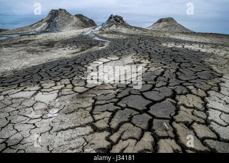 The quirky mud Volcanoes of Qobustan, Azerbaijan - Stock Photo