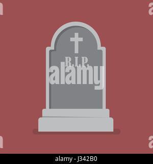 Graveyard flat style icon. Vector illustration - Stock Photo