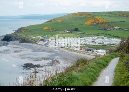 View,caravan,holiday,park,Clarach,just,north,of coastal,town,of,Aberystwyth,Cardigan Bay,in May,West Wales,Wales,U.K.,GB, - Stock Photo