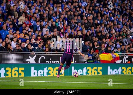 BARCELONA - APR 29: Neymar plays at the La Liga match between RCD Espanyol and FC Barcelona at RCDE Stadium on April - Stock Photo