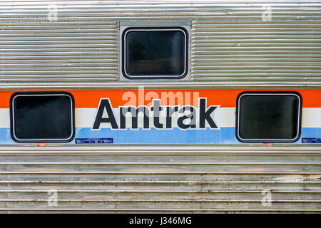 DULUTH, GEORGIA - May 7, 2015: Amtrak has been providing passenger rail service in the Untied States since 1971 - Stock Photo