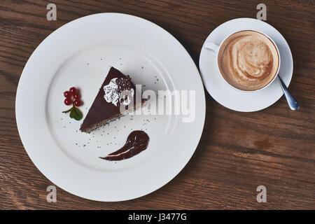 Coffee and chocolate cake - Stock Photo