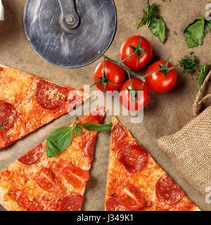 Pepperoni pizza. Flatlay. - Stock Photo