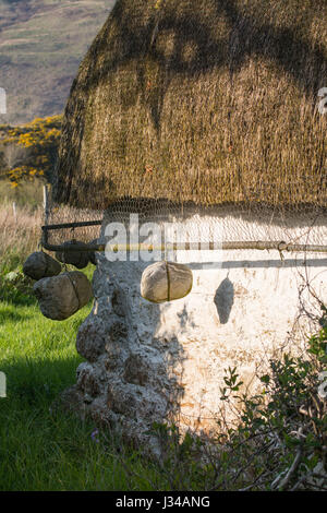 Thatched cottage - detail of last intact traditional Lochalsh cottage, Lower Ardelve, Lochalsh, Highland, Scotland - Stock Photo
