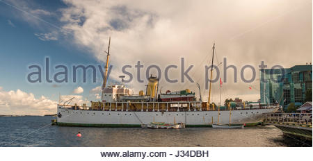 Canadian Scientific Ship Acadia docked along Halifax Waterfront Boardwalk, Halifax Harbour, Nova Scotia, Canada - Stock Photo