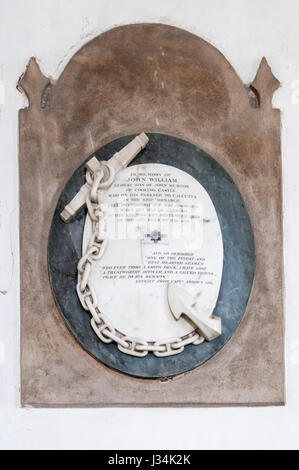 Memorial in Cooling church to sailor drowned off Rio de Janeiro, including extract from Captain's log. DETAILS IN - Stock Photo