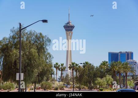 Las Vegas, APR 29: Morning view of Stratosphere Casino, Hotel & Tower on APR 29, 2017 at Las Vegas, Nevada - Stock Photo