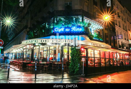 Paris, France-April 30,, 2017: The famous cafe de Flore located at the corner of boulevard Saint Germain and rue Saint Benoit. It was once home to int