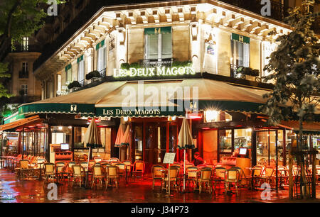 Paris, France-April 30, 2017: The famous cafe Les deux magots located on Saint-Germain boulevard .It was once home for to intellectual stars , from He