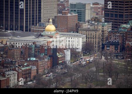 Massachusetts State House or Massachusetts Statehouse or the New State House, Boston  Massachusetts, United States, - Stock Photo