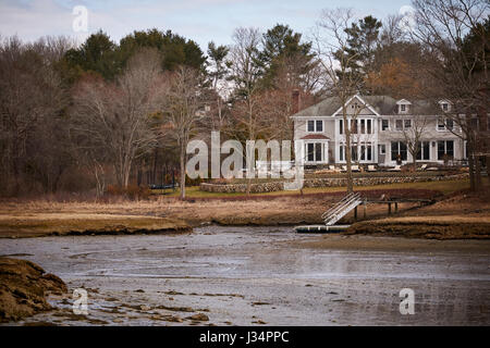 Large coastal house looking into the harbor  Manchester by the Sea, Boston, Massachusetts, United States, USA, - Stock Photo