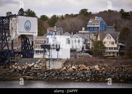 Railroad draw bridge in the  harbor  Manchester by the Sea, Boston, Massachusetts, United States, USA, - Stock Photo