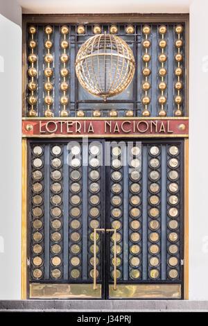Mexico City, Mexico - 22 April 2017: Art Deco door of the National Lottery building on Paseo de la Reforma - Stock Photo