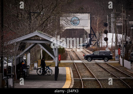 Railroad station and level crossing Manchester by the Sea, Boston, Massachusetts, United States, USA, - Stock Photo
