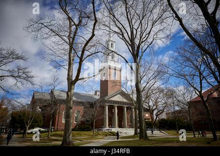 Memorial Church in Harvard Yard ,  Harvard University building , Camebridge,  Boston, Massachusetts, United States, - Stock Photo
