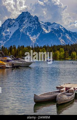 View of Mt. Moran at Colter bay village, Grand Teton national park, Wyoming, USA - Stock Photo