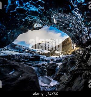 JOKULSARLON, ICELAND - CIRCA MARCH 2015: Ice cave near the Glacial Lagoon in the  Vatnajökull National Park - Stock Photo