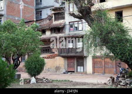 Ramshackle buildings in a square in Patan, Kathmandu, Nepal - Stock Photo