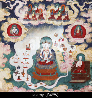 Mindfulness Buddhist tibetan vajrayana meditation painting 18th century buddha and mind yoga Named;Offerings - Stock Photo
