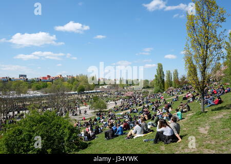 Berlin, Germany - april 30, 2017: People at park (Mauerpark) on a sunny day in Berlin, Germany. - Stock Photo
