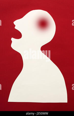 concept of human disease diagnosis and pain localization on silhouette - contour of abstract white man with opened - Stock Photo