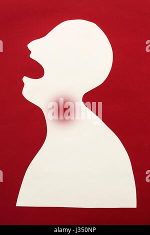concept of human disease diagnosis and pain localization on silhouette - contour of abstract male man with opened - Stock Photo