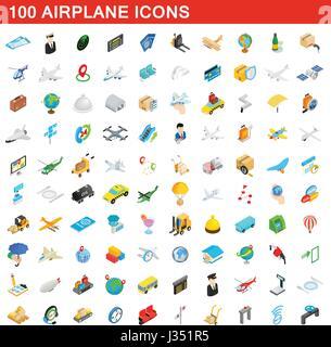 100 airplane icons set, isometric 3d style - Stock Photo