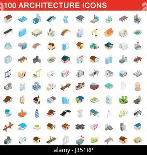 100 architecture icons set, isometric 3d style - Stock Photo