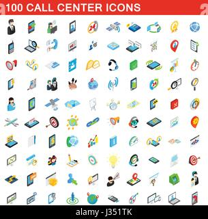 100 call center icons set, isometric 3d style - Stock Photo