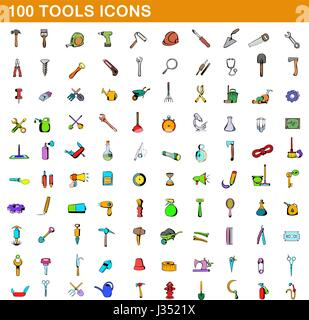 100 tools icons set, cartoon style  - Stock Photo