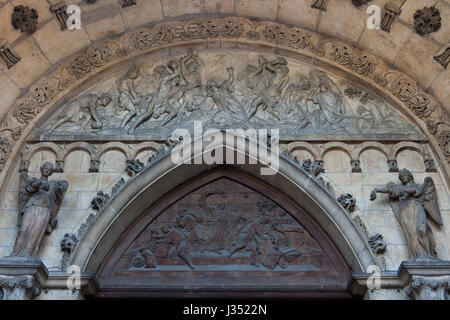 Stoning of Saint Stephen (1813) depicted in the tympanum of the main portal of the Dijon Cathedral (Cathedrale Saint - Stock Photo