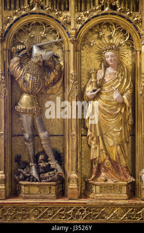 Saint George killing the Dragon (L) and Mary Magdalene (R). Detail of the left wing of the Altarpiece of the Crucifixion - Stock Photo