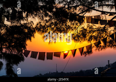 Colourful orange sky, sunset and setting sun behind silhouetted typical Tibetan prayer flags at McLeodGanj, Dharamshala, - Stock Photo