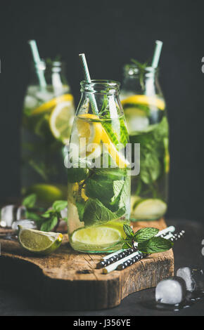 Citrus fruit and herbs infused sassi water in bottles - Stock Photo