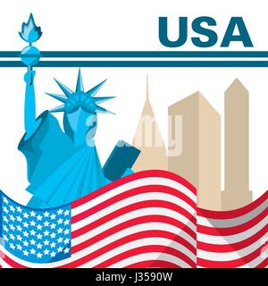american flag and statue of liberty - Stock Photo