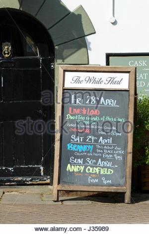 Pub blackboard, Wimborne Minster, Dorset, England - Stock Photo