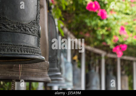 Bells in buddhist temple in Bangkok Thailand - Stock Photo