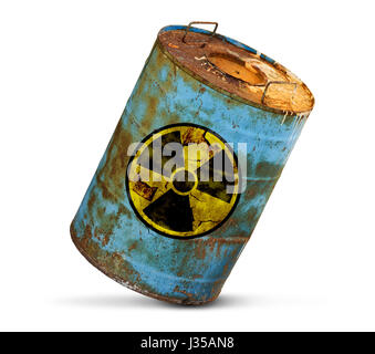 radioactive pollution concept. Dirty barrel isolated on white background - Stock Photo