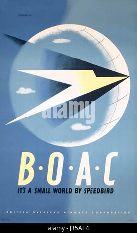 'BOAC It's a Small World by Speedbird' 1947 British Overseas Airways Corporation Poster. Artwork by Tom Eckersley - Stock Photo