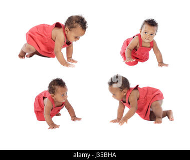 Four images of a beautiful baby girl crowling isolated on a white background - Stock Photo
