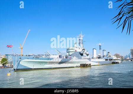 HMS Belfast moored on the River Thames, London, England, UK - Stock Photo