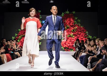 Kuala Lumpur, Malaysia. 2nd May, 2017. Dato Jimmy Choo, OBE, on the runway with Illiza Ho, handbags designer. Mercedes STYLO Asia Fashion Festival 2017 starts in Kuala Lumpur. Credit: Danny Chan/Alamy Live News Stock Photo