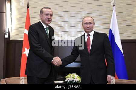 Sochi, Russia. 03rd May, 2017. Russian President Vladimir Putin welcomes Turkish President Recep Tayyip Erdogan - Stock Photo