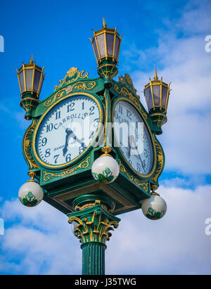 This magnificent clock used to be located downtown at Carroll's Fine Jewelers at 4th Avenue and Pike Street.  It - Stock Photo