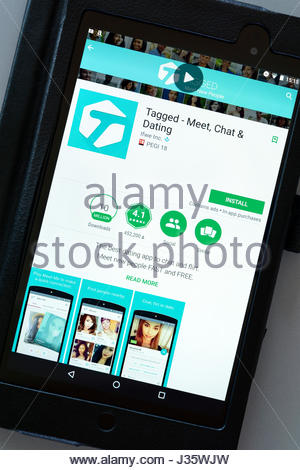 Tagged dating app on an android tablet PC Dorset England UK - Stock Photo