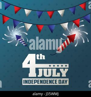4th july independence day garland fireworks decoration celebrate - Stock Photo