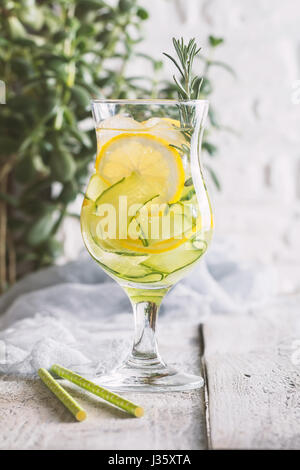 detox water with lemon and cucumber - Stock Photo